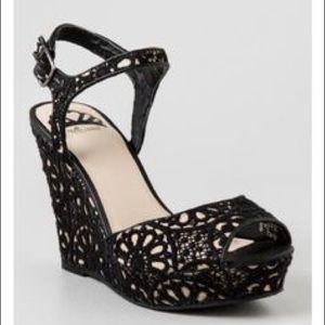 Cream and black crocheted heel wedges